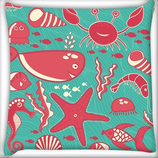 Snoogg Red Fish World Abstract Digitally Printed Cushion Cover Pillow 20 x 20 Inch