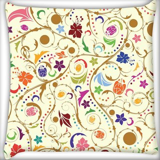 Snoogg Colorful Flower Digitally Printed Cushion Cover Pillow 20 x 20 Inch