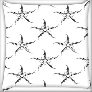 Snoogg Grey Starfish Pattern Digitally Printed Cushion Cover Pillow 20 x 20 Inch
