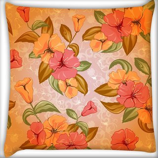 Snoogg Mixed Floral Pattern Digitally Printed Cushion Cover Pillow 20 x 20 Inch