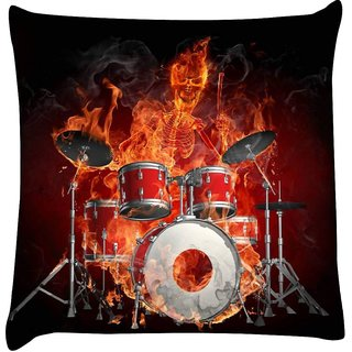 Snoogg  Mummy'S Drum and Bass Night  Digitally Printed Cushion Cover Pillow 16 x 16 Inch