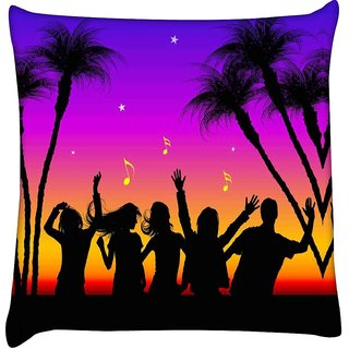 Snoogg  Party Night  Digitally Printed Cushion Cover Pillow 16 x 16 Inch