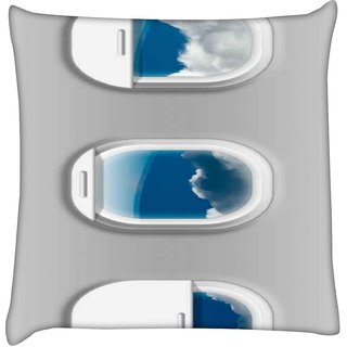 Snoogg airplane windows   Digitally Printed Cushion Cover Pillow 16 x 16 Inch