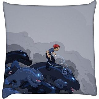 Snoogg boy riding the bull 2596  Digitally Printed Cushion Cover Pillow 16 x 16 Inch