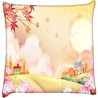 Snoogg colorful town 2609  Digitally Printed Cushion Cover Pillow 16 x 16 Inch