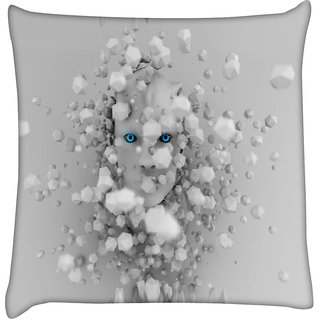 Snoogg cyborg surrounded by hexahedron 2616  Digitally Printed Cushion Cover Pillow 16 x 16 Inch