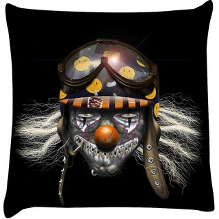 Snoogg evil clown soldier 2625  Digitally Printed Cushion Cover Pillow 16 x 16 Inch