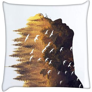 Snoogg forest in a silhouette 2631  Digitally Printed Cushion Cover Pillow 16 x 16 Inch