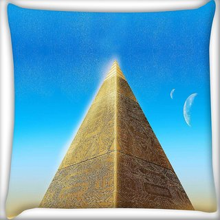 Snoogg pyramid moons Digitally Printed Cushion Cover Pillow 16 x 16 Inch