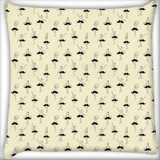 Snoogg Mustache ballet Digitally Printed Cushion Cover Pillow 16 x 16 Inch
