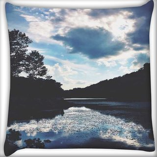 Snoogg nature serenity Digitally Printed Cushion Cover Pillow 16 x 16 Inch
