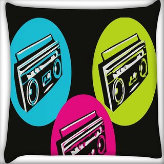 Snoogg Boombox Colourful Digitally Printed Cushion Cover Pillow 16 x 16 Inch