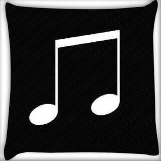 Snoogg Music minimal Digitally Printed Cushion Cover Pillow 16 x 16 Inch