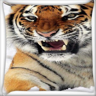 Snoogg Tiger Hunger Digitally Printed Cushion Cover Pillow 16 x 16 Inch