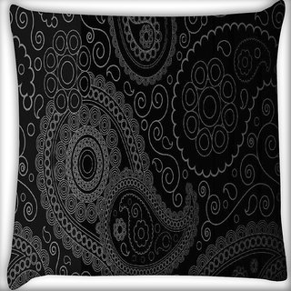 Snoogg Paisely pattern black Digitally Printed Cushion Cover Pillow 16 x 16 Inch
