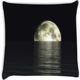 Snoogg  digital visualization of a moonset Digitally Printed Cushion Cover Pillow 16 x 16 Inch