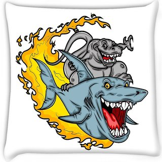 Snoogg  dinosaur riding a shark Digitally Printed Cushion Cover Pillow 16 x 16 Inch