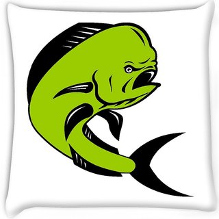 Snoogg  dorado dolphin fish mahi mahi jumping Digitally Printed Cushion Cover Pillow 16 x 16 Inch