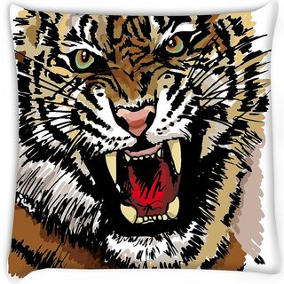 Snoogg  sketch of tiger vector illustration Digitally Printed Cushion Cover Pillow 16 x 16 Inch