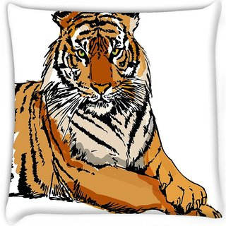 Snoogg  sketch of white tiger vector illustration Digitally Printed Cushion Cover Pillow 16 x 16 Inch