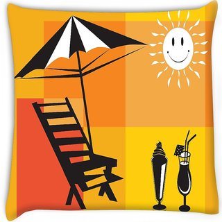 Snoogg  summer holiday with palm tree and parasol on the beach series 7  Digitally Printed Cushion Cover Pillow 16 x 16 Inch