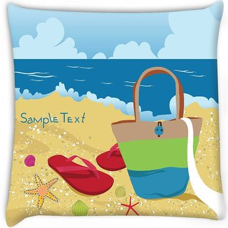 Snoogg  summer illustration Digitally Printed Cushion Cover Pillow 16 x 16 Inch