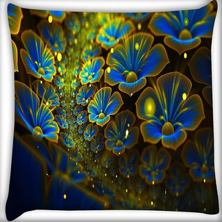 Snoogg Blue Floral Petals Digitally Printed Cushion Cover Pillow 16 x 16 Inch