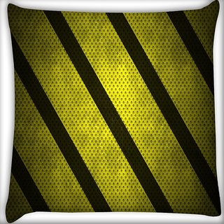 Snoogg Yellow Strips Digitally Printed Cushion Cover Pillow 16 x 16 Inch