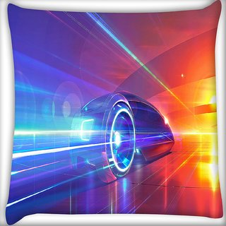 Snoogg Speed Car Digitally Printed Cushion Cover Pillow 16 x 16 Inch