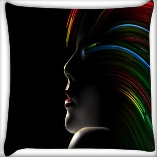 Snoogg Hollywood Girl With Rainbow Hair Digitally Printed Cushion Cover Pillow 16 x 16 Inch