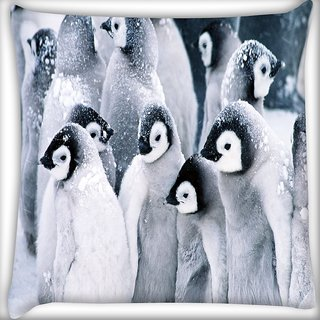 Snoogg Animal Penguin Digitally Printed Cushion Cover Pillow 16 x 16 Inch