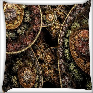 Snoogg Fractal Domes Digitally Printed Cushion Cover Pillow 16 x 16 Inch