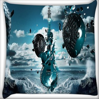 Snoogg Guitar Mechanism Digitally Printed Cushion Cover Pillow 16 x 16 Inch