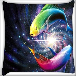 Snoogg Colorful Fish Digitally Printed Cushion Cover Pillow 16 x 16 Inch