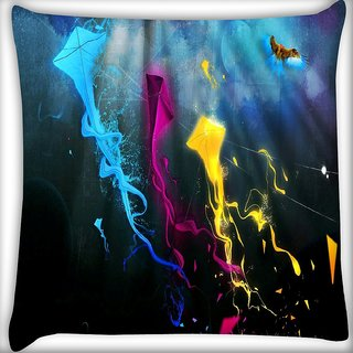 Snoogg Colorful Kites Digitally Printed Cushion Cover Pillow 16 x 16 Inch