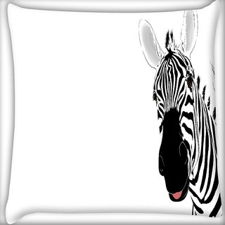 Snoogg Funny Zebra Digitally Printed Cushion Cover Pillow 16 x 16 Inch