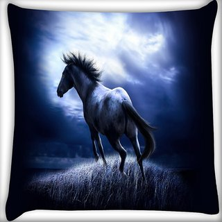 Snoogg Runninghorse Digitally Printed Cushion Cover Pillow 16 x 16 Inch
