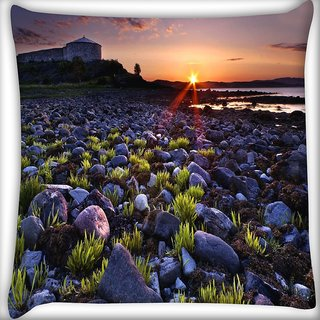 Snoogg Sunset On The Rocky Shore Digitally Printed Cushion Cover Pillow 16 x 16 Inch
