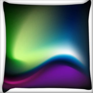 Snoogg Green And Blue Design Digitally Printed Cushion Cover Pillow 16 x 16 Inch