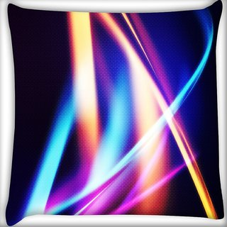 Snoogg Multicolor Waves Digitally Printed Cushion Cover Pillow 16 x 16 Inch