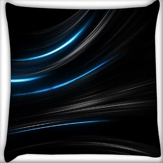 Snoogg Blue Light In Black Background Digitally Printed Cushion Cover Pillow 16 x 16 Inch