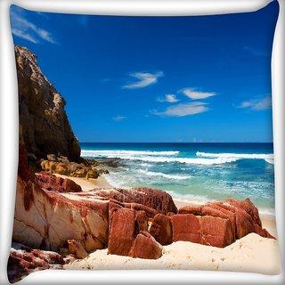 Snoogg Hot Sunny Beach Digitally Printed Cushion Cover Pillow 16 x 16 Inch