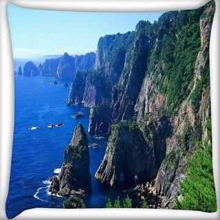 Snoogg Malayaisa Mountains Digitally Printed Cushion Cover Pillow 16 x 16 Inch