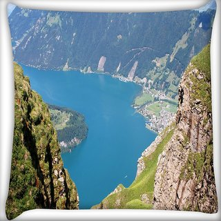 Snoogg Mountain View From The Top Digitally Printed Cushion Cover Pillow 16 x 16 Inch