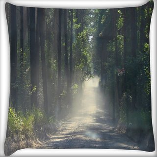 Snoogg Dense Road Digitally Printed Cushion Cover Pillow 20 x 20 Inch