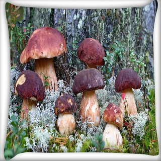 Snoogg Dark Red Mushroom Digitally Printed Cushion Cover Pillow 20 x 20 Inch