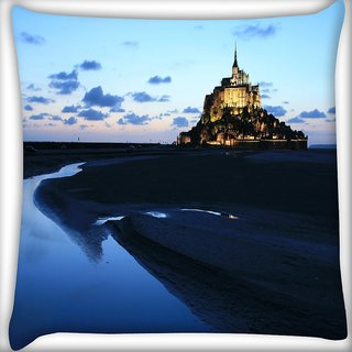 Snoogg Palace Along The Beach Digitally Printed Cushion Cover Pillow 20 x 20 Inch