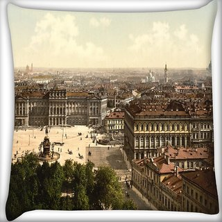 Snoogg Abstract Rome City Digitally Printed Cushion Cover Pillow 20 x 20 Inch