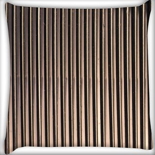 Snoogg Black And Cream Strips Digitally Printed Cushion Cover Pillow 20 x 20 Inch