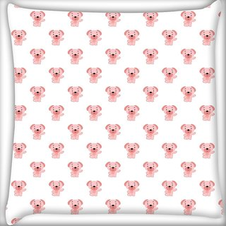 Snoogg Small Puppy White Pattern Digitally Printed Cushion Cover Pillow 20 x 20 Inch